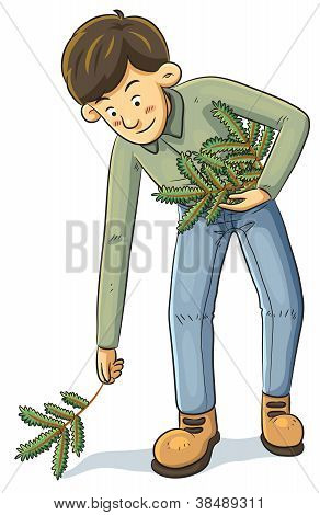 Man Collecting Branch