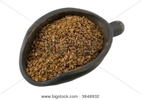Scoop Of Brown Flax Seeds