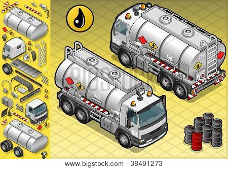 Isometric Liquid Tanker Truck In Two Position