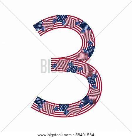 Number 3 made of USA flags