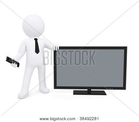 White Human Standing Near The Tv And Keeps The Remote In His Hand