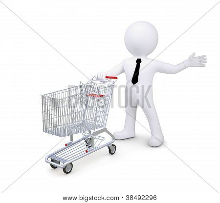 White Human Standing Near A Supermarket Trolleys. Indicates A Hand To The Side