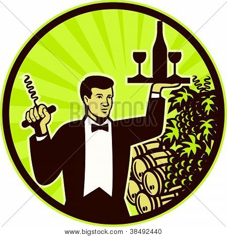 Waiter Serving Wine Grapes Barrel Retro