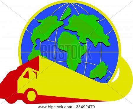 Delivery Truck Lorry Globe Retro