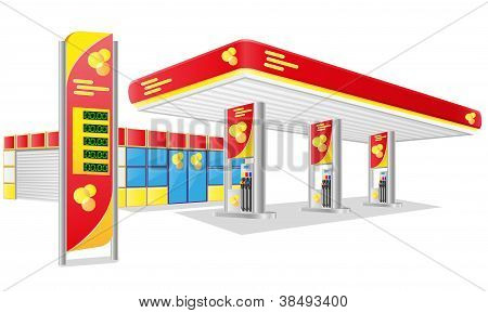 Coche gasolinera Vector Illustration