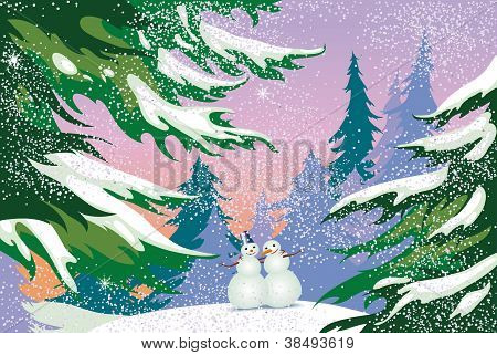 Christmas Card, Snowmen, Forest