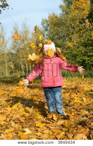 Small Girl Playing With Autumn Leaves In A Park.