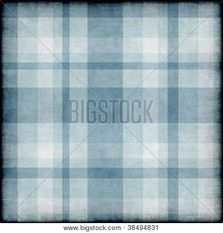 Blue grunge background with plaid pattern