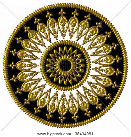Elegant golden black and white ornament