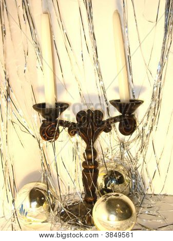 Candlestick And Sparkling Balls