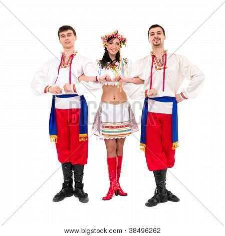 Three Dancers Wearing A Folk Ukrainian Costumes