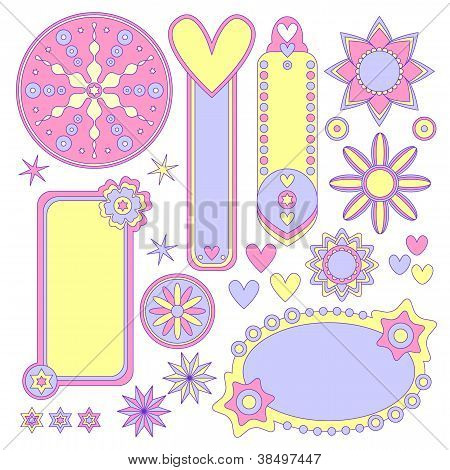 Romantic pastel tags labels hearts and flowers