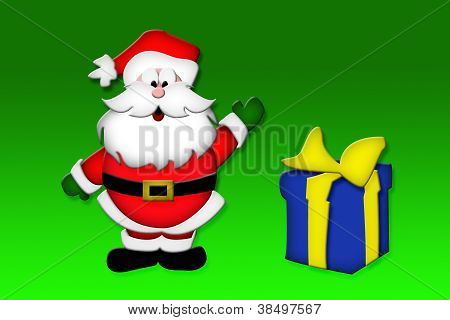 Waving Santa with Gift