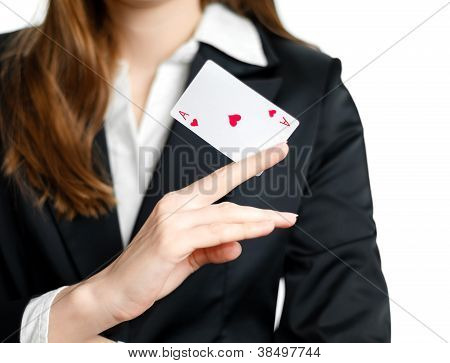Ace Of Hearts On Woman Hand