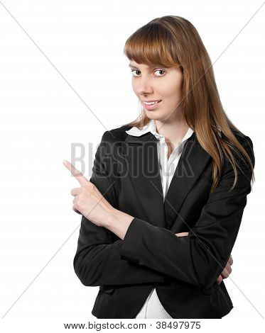 Young Businesswoman Pointing To The Side