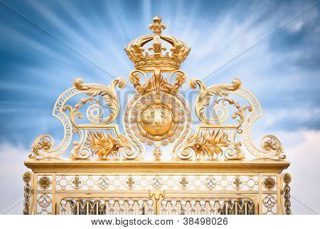Golden Gate Of Chateau De Versailles. Paris, France, Europe.