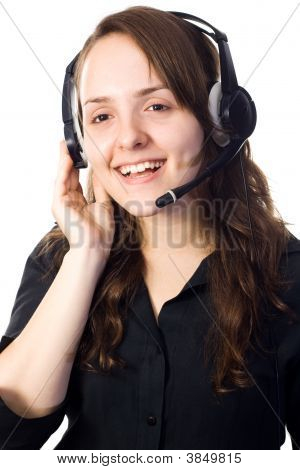 Receptionist Talking With A Head-Set