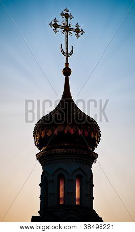 Silhouette Of Russian Church Dome