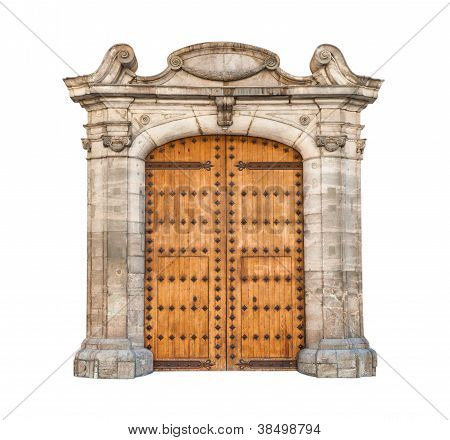 Massive Doorway Isolated On White Background.