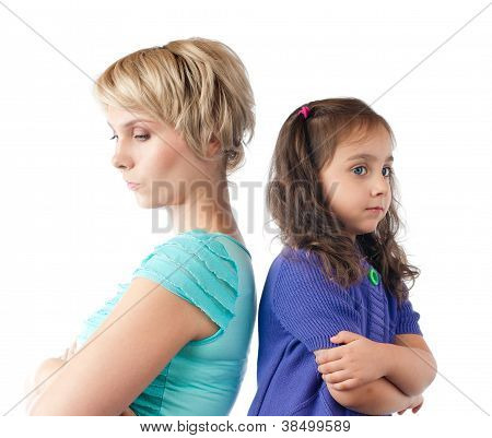 Sad Mother And Daughter Back To Back