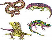 stock photo of giant lizard  - Stylized motley snake and lizards - JPG