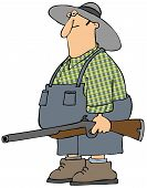 image of redneck  - This illustration depicts a redneck man holding a rifle - JPG