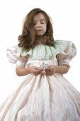 image of toddlers tiaras  - Cute Little Princess in Light Pink Dress and Crown - JPG