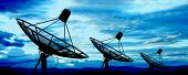 picture of antenna  - the satellite dish antennas under blue sky - JPG