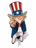 foto of goatee  - Clean-cut, overview cartoon illustration of Uncle Sam pointing the finger in a classic WWI poster style.