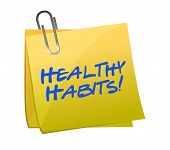 pic of  habits  - healthy habits post it illustration design over white - JPG