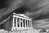 foto of parthenon  - Black and white facade of ancient temple Parthenon in Acropolis Athens Greece on the cloudy sky background - JPG