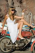 Fashion Girl In Motocycle