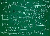 stock photo of formulas  - close up of math formulas on a blackboard - JPG