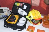 stock photo of defibrillator  - portable automatic defibrillator for hearth emergencys for ill people - JPG