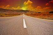 picture of samaria  - Asphalt Road in Sand Hills of Samaria Israel Sunset - JPG