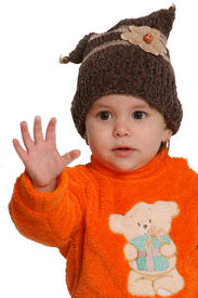 stock photo of hands up  - child with hand up isolated on white - JPG