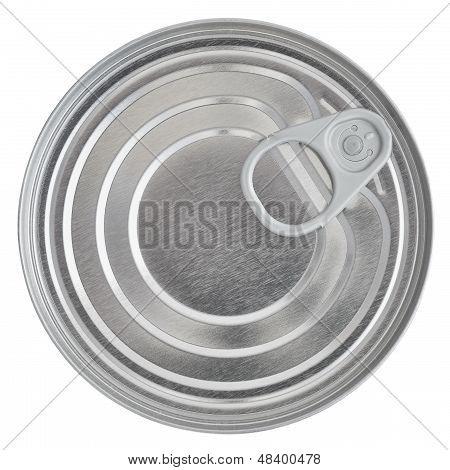 Blechdose Deckel, Lebensmittel bewahren Ringpull-Kanister versiegelt oben, isoliert makro Closeup