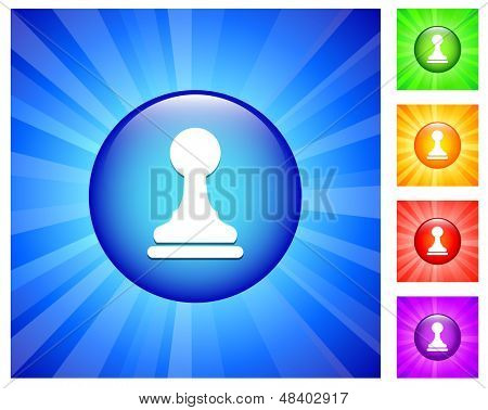 Pawn Icon on Round Button with Blue Glow