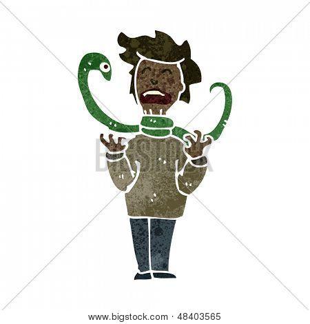 retro cartoon snake strangling man