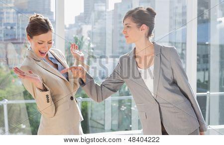 Businesswomen having a dispute in a bright office