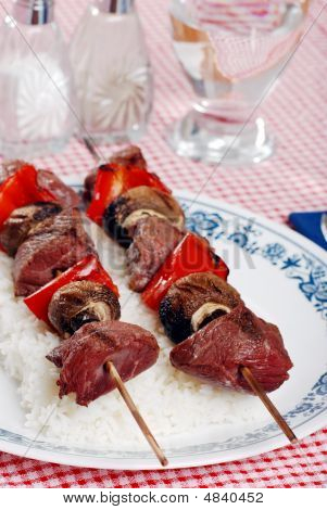 Beef Kabobs With Mushrooms And Red Peppers