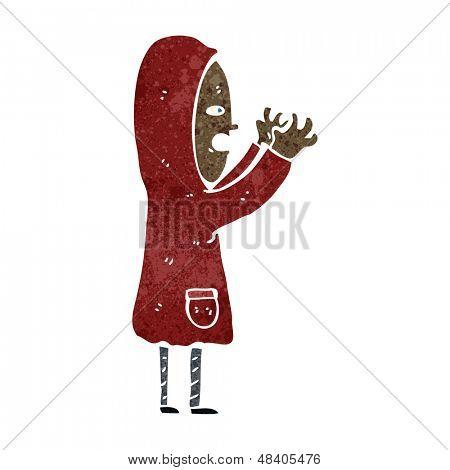 retro cartoon boy in raincoat
