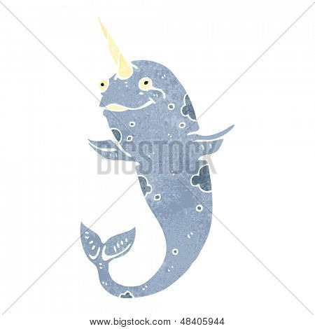 retro cartoon narwhal