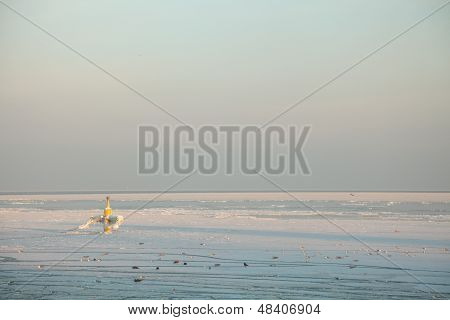 Sunset On The Sea - Ice - Floe. Poland, Gdynia