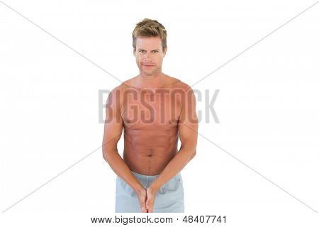 Shirtless attractive man on white background