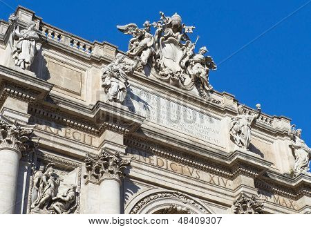 Pediment Of Poli Palace ( Palazzo Poli ), Trevi Fountain, Rome