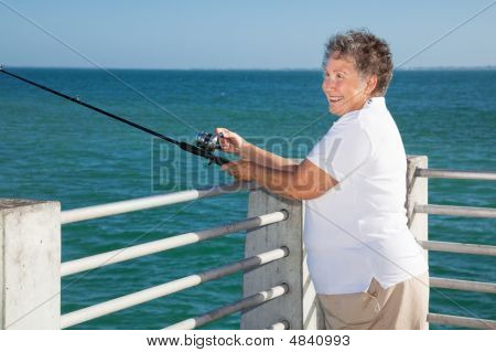 Senior Lady Fishing