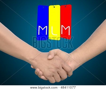 Hand Shake Or Hand In Hand With The Word Mlm On Iron Tag