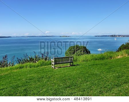 Bench with sea view on Auckland's North Head