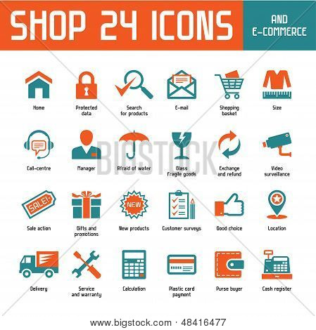 Shop 24 Vector Icons - Internet Shoppin & E-Commerce
